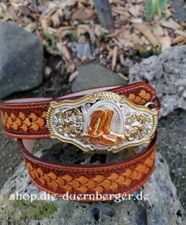 Ledergürtel Westernbuckle - Bild vergrößern