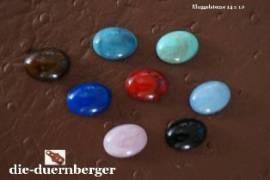 b) Muggelstein türkisgrün marmoriert oval klein Zierniete - Bild vergrößern