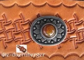 d) Muggelstein rund klein Bernstein Zierniete - Bild vergrößern