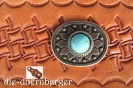 d) Muggelstein rund klein grüntürkis Zierniete - Bild vergrößern