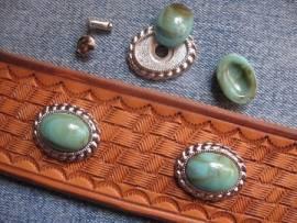 a) Muggelstein grüntürkis oval Zierniete - Bild vergrößern