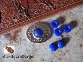 d) Muggelstein rund klein Lapis blau Zierniete - Bild vergrößern