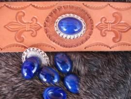 a) Muggelstein Lapis blau oval Zierniete - Bild vergrößern