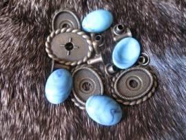 1) Muggel-FASSUNG oval altmessing Zierniete - Bild vergrößern