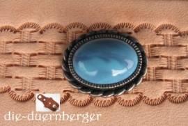 1) Muggel-FASSUNG oval altsilber Zierniete